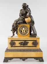 A GOOD 19TH CENTURY FRENCH LOUIS XVI DESIGN MANTLE CLOCK, Retailed by J. EDMOND, in a gilt metal case with painted SEVRES panels, the clock with eight-day movement, the case with a young girl and two doves. <br>17ins long, 13.5ins high.