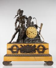 A SUPERB LARGE 19TH CENTURY FRENCH BRONZE AND SIENNA MARBLE CLOCK, with eight-day movement and embossed brass dial, striking on a single bell, the case surmounted by a classical bronze warrior with bow and quiver. <br>25ins high, 21ins wide.