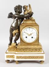A SUPERB LOUIS XVI BRONZE, ORMOLU AND WHITE MARBLE CLOCK, the circular dial with eight-day movement, painted with garlands striking on a single bell, movement 493, the case with a cupid holding a rooster and standing on two books, the base break fronted with white marble. <br>16ins high, 10.5ins wide.