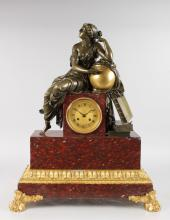 A SUPERB LOUIS XVI BRONZE, ORMOLU AND ROUGE MARBLE MANTLE CLOCK, the case with a classical female figure with globe and books, with eight-day movement stamped DENIER PARIS, striking on a single bell, standing on a rouge marble and ormolu base. <br>2ft 3ins high, 1ft 9ins wide.