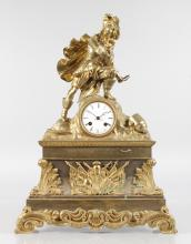 A 19TH CENTURY FRENCH ORMOLU MANTLE CLOCK with circular dial, eight-day movement, surmounted by a man holding a sword, the base with acanthus scrolls and military emblems. <br>21ins high.
