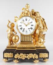 A SUPERB LOUIS XVI GILT BRONZE AND BLACK MARBLE MANTLE CLOCK by JOUHARD A. PARIS, with eight-day movement, No. 4452, striking on a single bell, the case with cupids and classical figure and globe, standing on a breakfront marble base. <br>22ins high, 17ins wide.