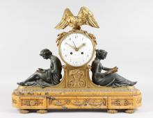 A SUPERB LOUIS XVI BRONZE, GILT BRONZE AND MARBLE MANTLE CLOCK by CIE DES BRONZER, BRUXELLES, with eight-day movement with three dial hands, No. 2492, in a superb case with eagle surmount, with two bronze classical figures reading and standing on a yellow marble base. <br>20ins high, 26ins wide.