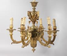 A GOOD 19TH CENTURY FRENCH ORMOLU SIX BRANCH HANGING CHANDELIER with urns, swags and acanthus. <br>35ins long.
