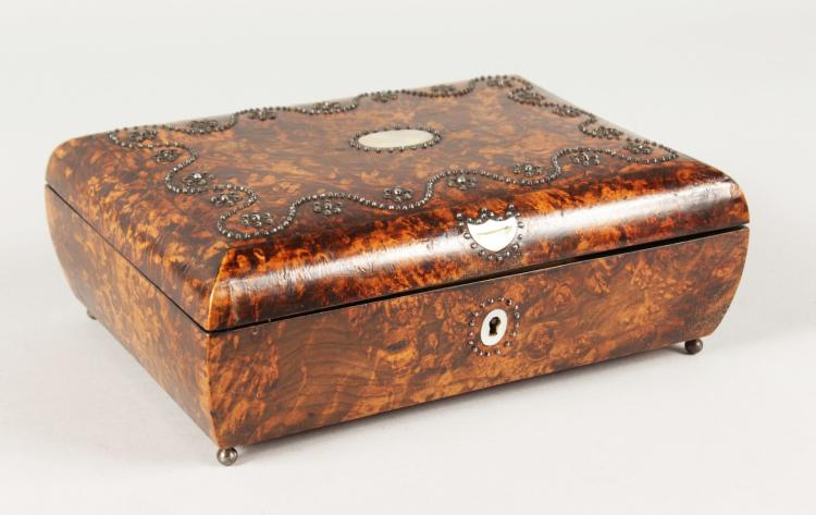 a very good 19th century mulberry sewing box with studded to. Black Bedroom Furniture Sets. Home Design Ideas