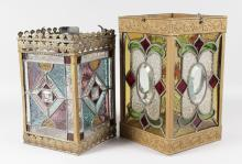 TWO 19TH CENTURY SQUARE SIDED STAIN GLASS LEADED HANGING LIGHTS. <br>13ins and 12ins high.