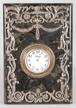 A GOOD RUSSIAN FABERGE MARBLE AND SILVER EASEL CLOCK with diamond surround, scrolls and garlands.  Marked Head 84. <br>7ins high, 4.5ins wide, in a velvet case.