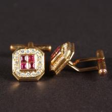 HACKETT, A GOOD PAIR OF 18CT YELLOW GOLD, DIAMOND AND RUBY CUFFLINKS.