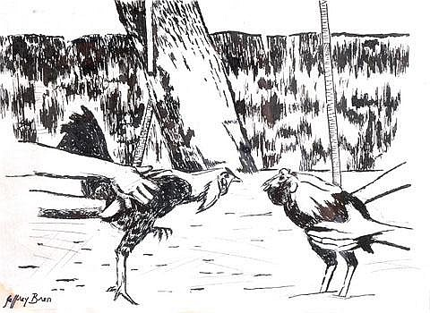 JEFFREY BREN (B. 1944) Australian Cock fighting.