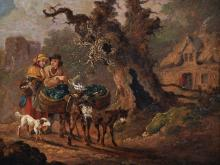 """Attributed to Sidney Percy Williams (Sidney Richard Percy) (1821-1886) British. A Country Landscape, with Figures and Laden Donkeys, with a Dog, Oil on Metal, Signed 'S Percy W', 6.5"""" x 8.5"""", and the companion piece, a Pair, (2)."""