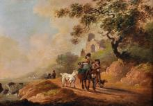 """Attributed to Sidney Percy Williams (Sidney Richard Percy)(1821-1886) British. A Country Landscape, with Figures and a Laden Donkey, with a Dog and a Goat, Oil on Metal, Signed 'S Percy W', 6.5"""" x 9.5"""", and the companion piece, a Pair, (2)."""