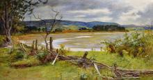 """John Young Hunter (1874-1955) British. """"A Scottish Sea Loch at Low Tide"""", possible Near Loch Carron, Oil on Canvas, Signed and Dated 1893, 18"""" x 36""""."""