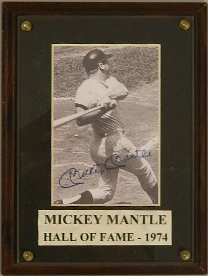 Hand Signed Mickey Mantle Yankees Photograph