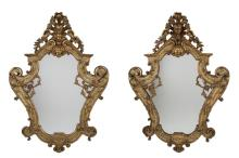 Pair of Venetian Lacca Povera and Polychrome Gilt Wood Mirrors