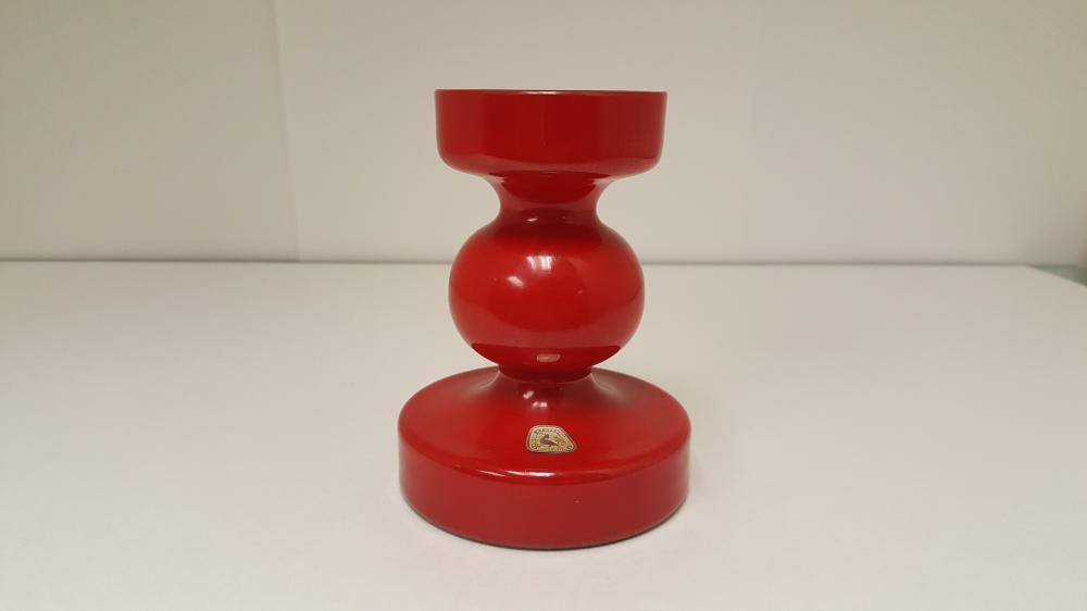 Mid Century Modern Red Painted Purple Glass Vase