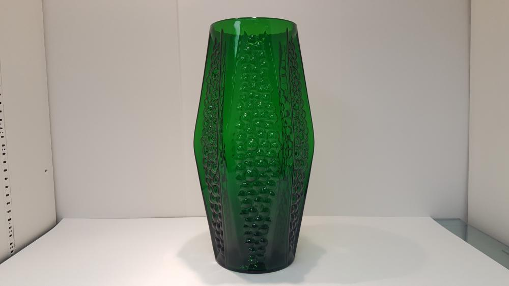 A Mid Century Modern Czechoslovakia Moulded Green Glass Vase