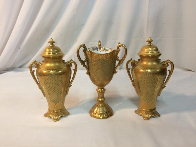 Three Piece Jeweled Coalport Set
