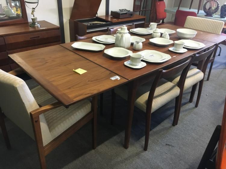 7pce danish style dining suite with extension dining table and 6
