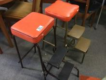 PAIR EARLY STOOLS WITH STEPS, ORANGE VINYL SEATS