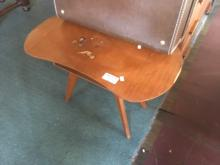 RETRO LEATHER TOP STOOL ON TIMBER SUPPORTS