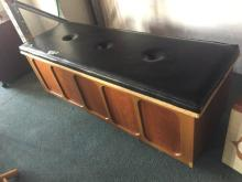 VINTAGE BLANKET BOX WITH LEATHER SEAT LID