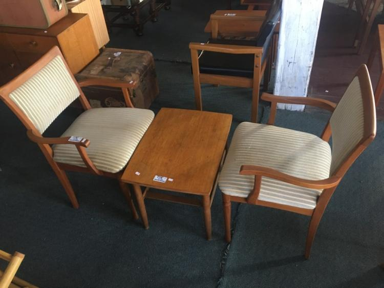 lot 301 2x danish style dining chairs with arm