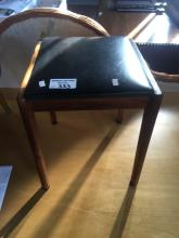 VINTAGE FOOT STOOL/LEATHER TOP