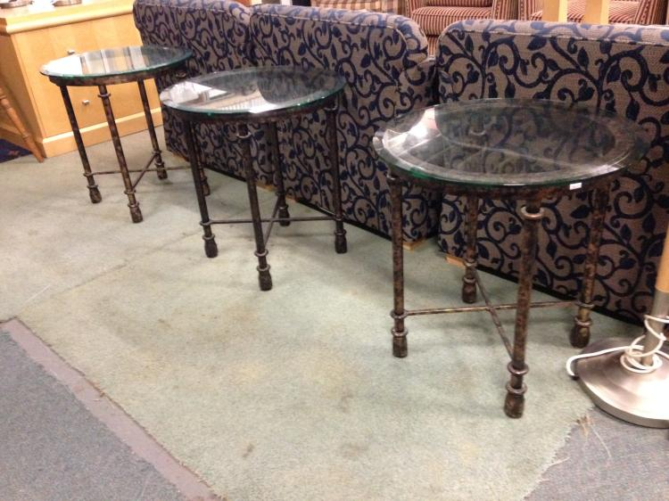 Wrought iron side table with glass for Wrought iron and glass side tables