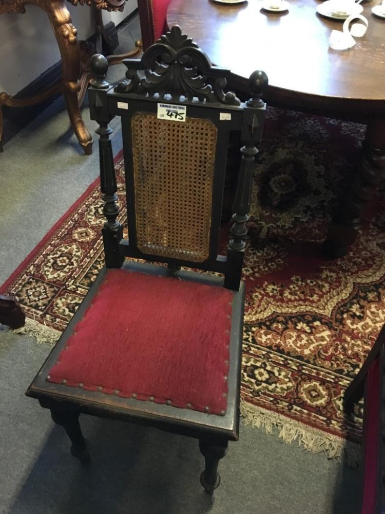 Arts and craft carved back bedroom chair