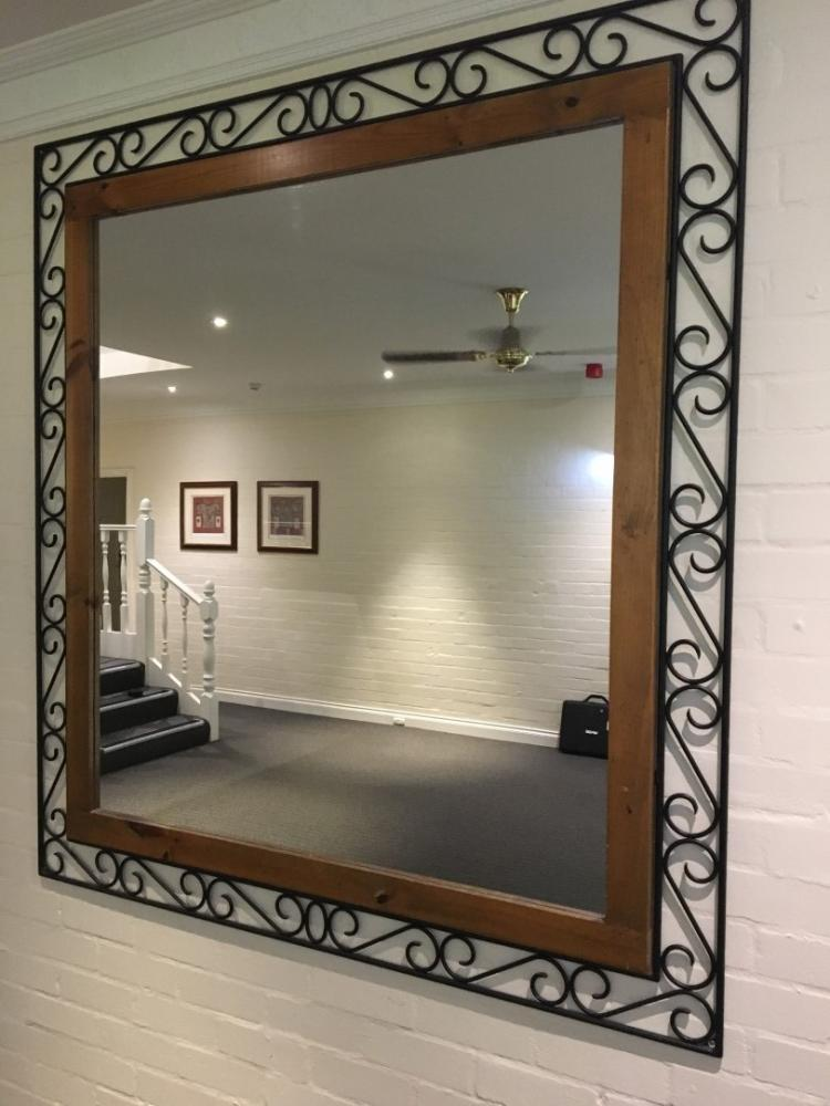 Wrought Iron Amp Timber Framed Wall Mirror 1 7x1 6