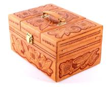 Tooled Leather Travel Grooming Case The case shows