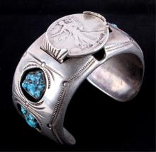 Navajo Silver & Turquoise Bracelet The bracelet sh