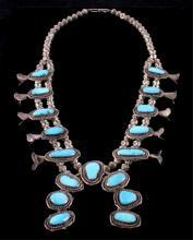 Navajo Sleeping Beauty Turquoise Squash Blossom Th