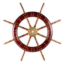 Antique Maritime Ships Wooden & Brass Wheel The lo