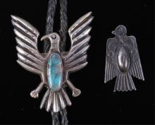 Navajo Thunderbird Sterling Bolo & Pin The lot fea