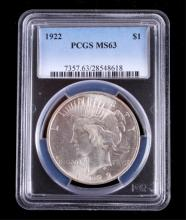 1922 Liberty Silver Peace Dollar PCGS MS63 This is
