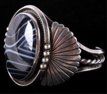 Navajo Spiderweb Obsidian & Silver Bracelet The br