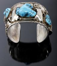 Navajo Sleeping Beauty Sterling Bear Claw Bracelet