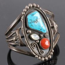 Navajo Sterling Silver & Turquoise Coral Cuff