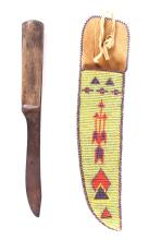 Plains Beaded Sheath With 19th C. Trade Knife