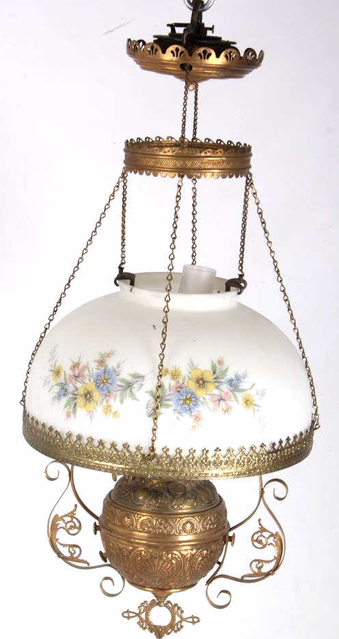 Antique Victorian Hanging Kerosene Lamp