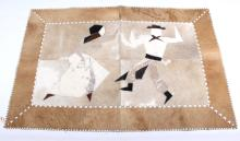 Cow Hide Leather Stitched Pictorial Rug