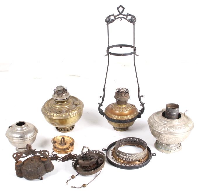 Antique Brass Kerosene Hanging Lamps Parts