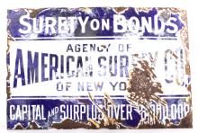 American Surety Company Enamel Sign