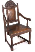 19th Century Leather Upholstered Carved Chair