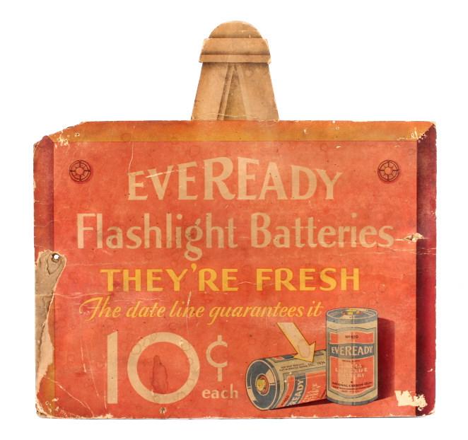 1930's Eveready Flashlight Battery Sign