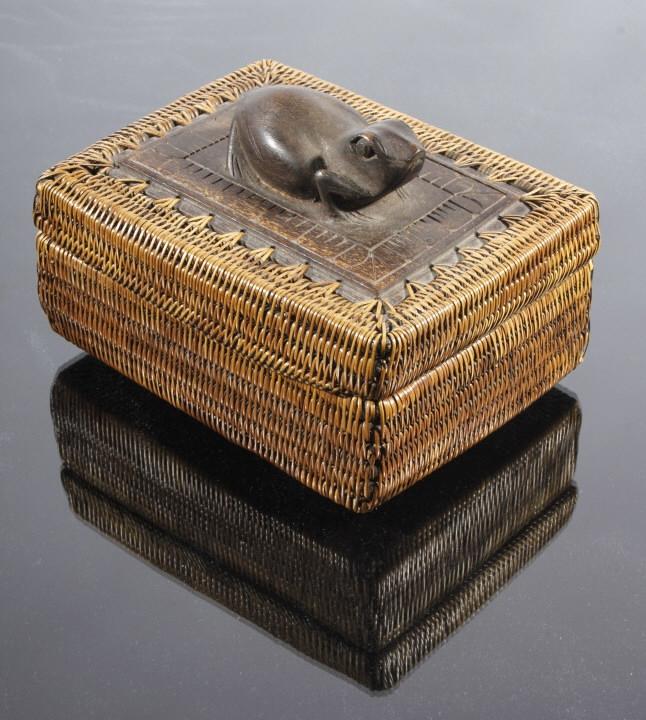 Eskimo Inuit Frog Totem Pine Needle Woven Box