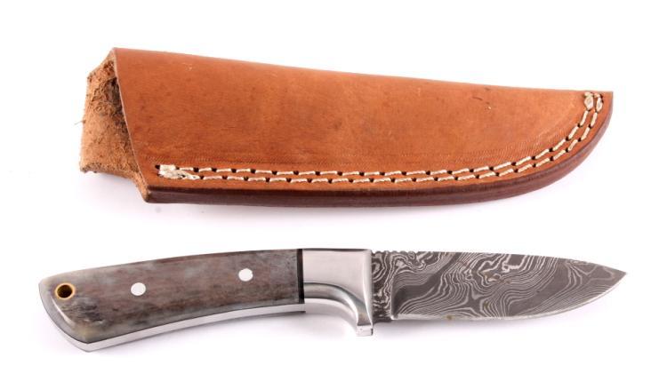 CFK Damascus & Exotic Camel Bone Knife