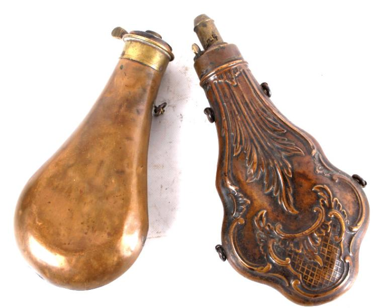 Antique Brass And Copper Gun Powder Flasks