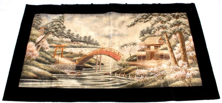 Antique Japanese Silk Tapestry
